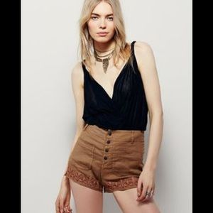 FREE PEOPLE Sienna Embroidered Shorts